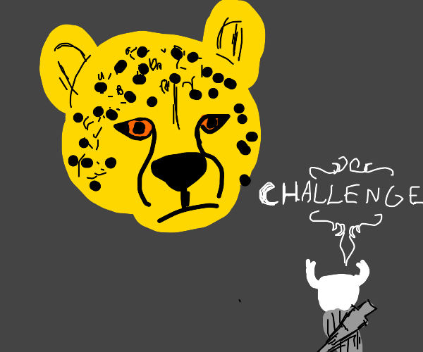 knight fighting a cheetah