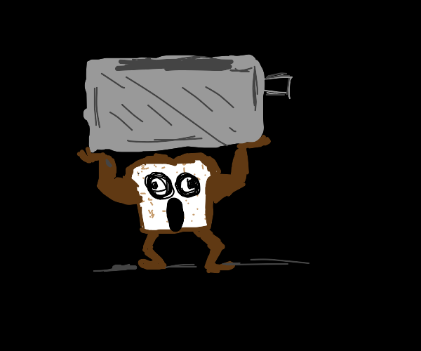 toast lifting weights near a toaster