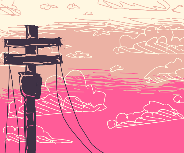 broken telephone pole cables in a sunset