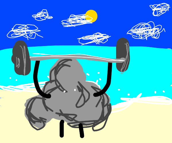 Cloud on the beach lifting weights