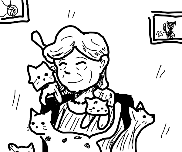 old lady surrounded by cats