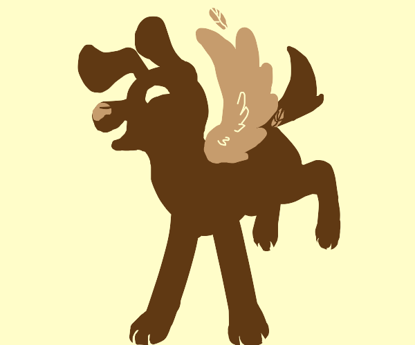 Happy winged doggo