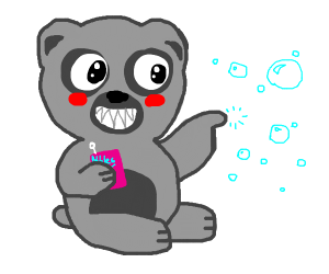grey panda monster plays with bubbles