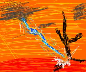 blue lightning streaks against the orange sky