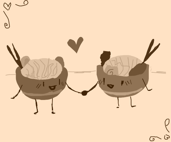 Two bowls of ramen are in love
