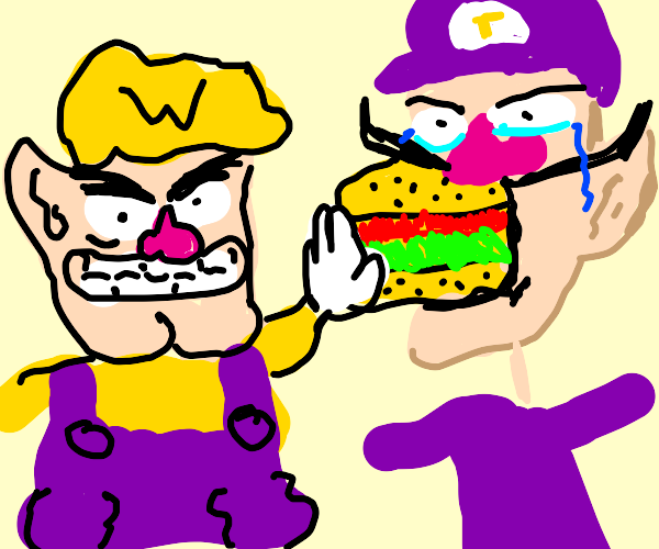 Wario force feeds Waluigi a burger