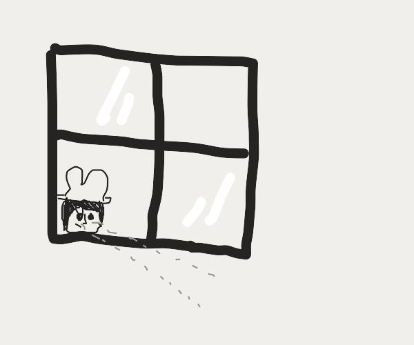 detective looks through window