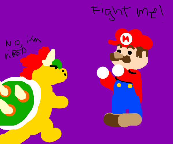 Bowser tired of fighting mario