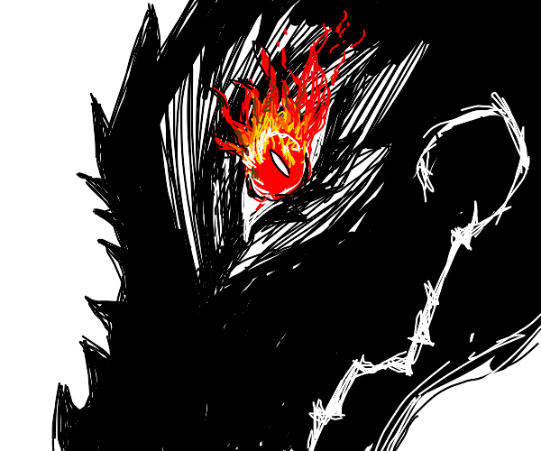 black dragon with red fire eyes