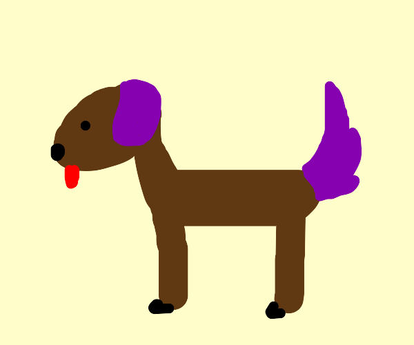 dog with purple ears and purple tail