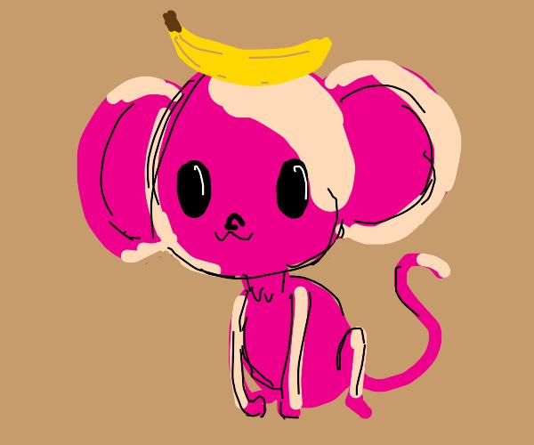 pink baby monkey with banana