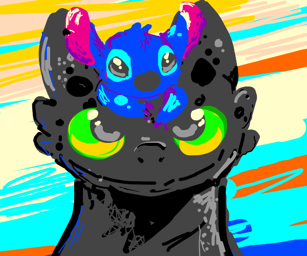 Stitch (lilo and stitch) on toothless' head