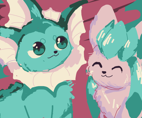 Vaporeon and Pink Glaceon