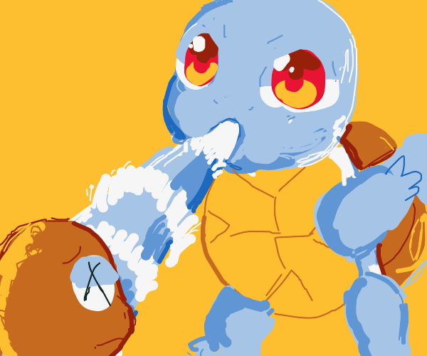 Squirtle uses Water Gun on Charmander