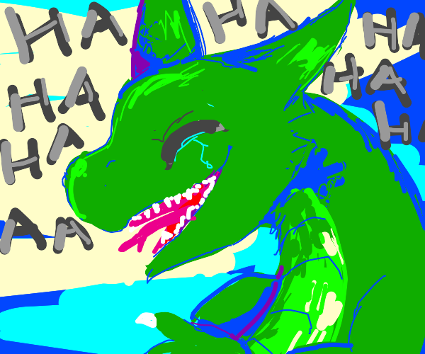 green dragon is laughing