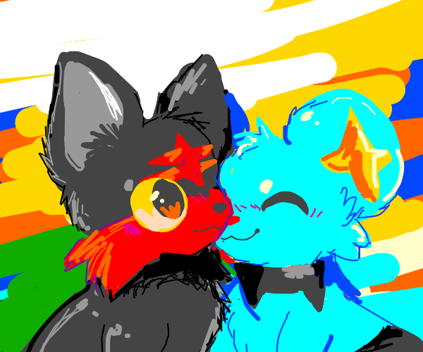 Shinx and Litten cutely snuggling each other