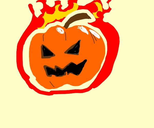 evil pumpkin on fire