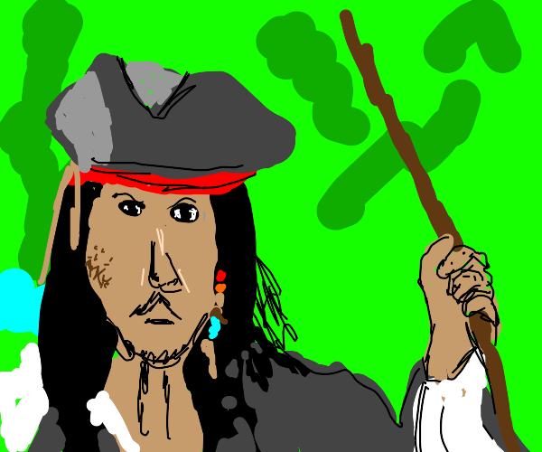 Jack sparrow angrily holding a rope