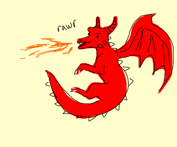 dragon flies and spits fire rawr