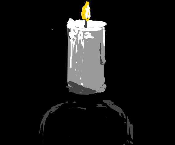 Man with candle instead of the head doing som
