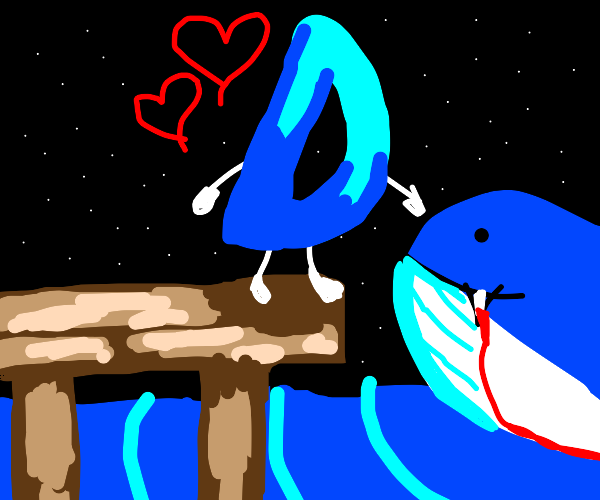 Drawception D loves vampire whale at night