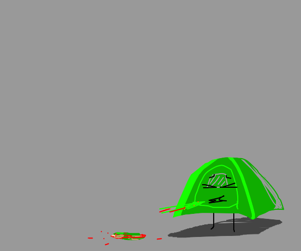 a camping tent vomiting blood and slime