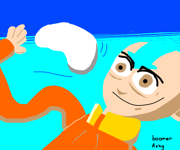 Old man Aang plays with a boomerang