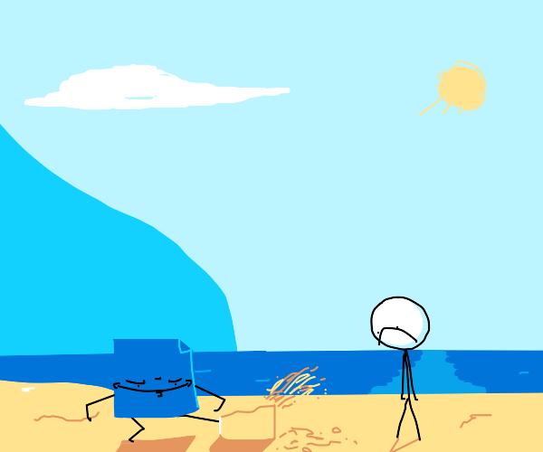 blue piece of paper destroys my sandcastle :(