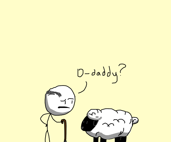 Old man thinks sheep is his father