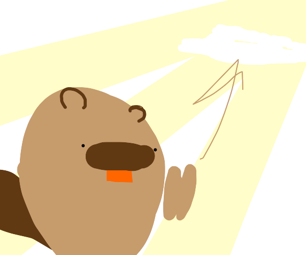 A beaver prays to the clouds