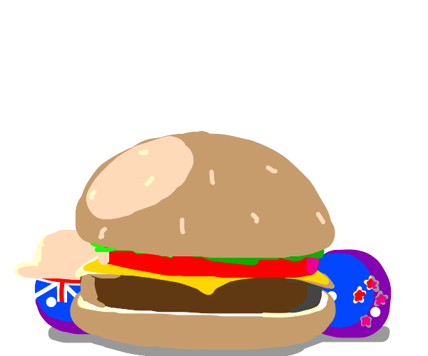 Aussie and Kiwi stand behind a burger