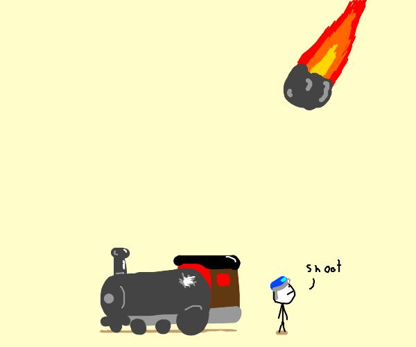 Asteroid hits a Train