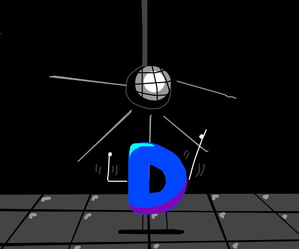 Drawception D dances at the disco.