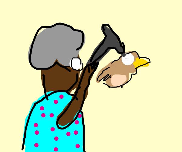 grandma fighting off a bird