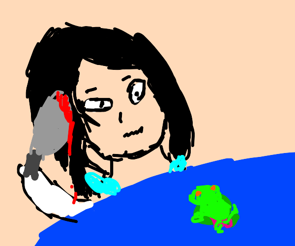 Yandere going to kill a frog