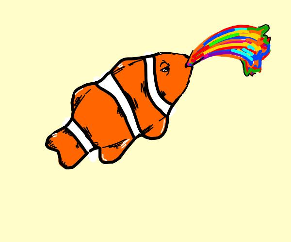 Clownfish barfing up a rainbow