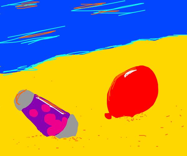 magic lamp & red balloon on sandy beach