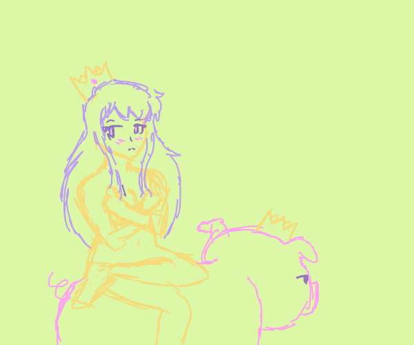 Princess, wearing only her crown, rides a pig