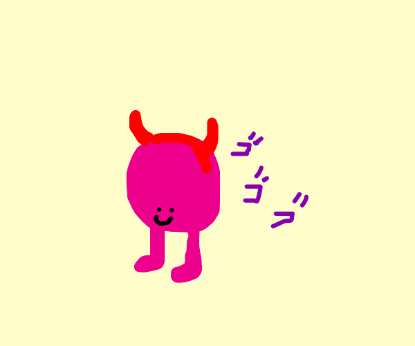 menacing walking head with horns and pink leg
