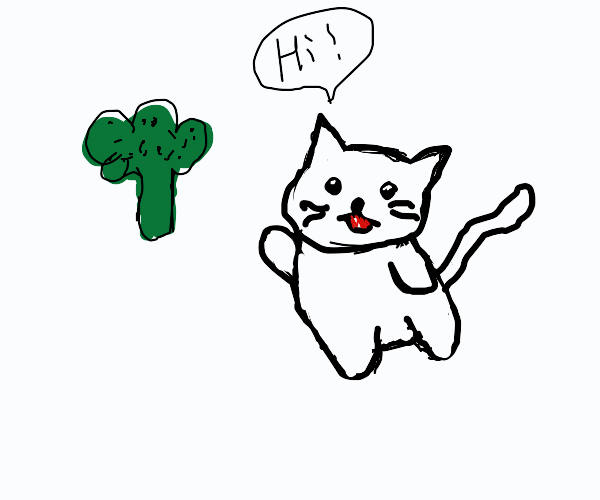 cute cat saying hi to a broccoli
