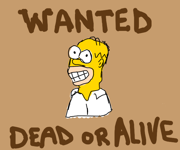 Homer Simpson Wanted Poster