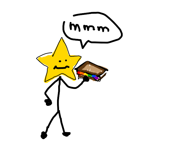 star has a rainbow sandwich