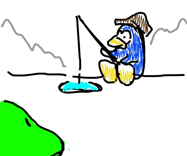 gren blobs watching club penguin fishing game