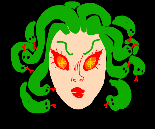 medusa makes eye contact with you