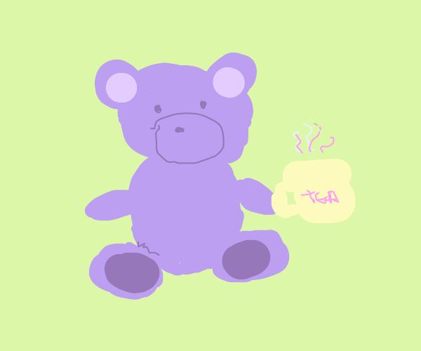 Teddy bear drinking tea