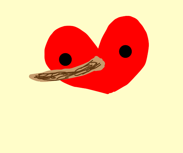 Heart with a long, wooden Pinocchio nose