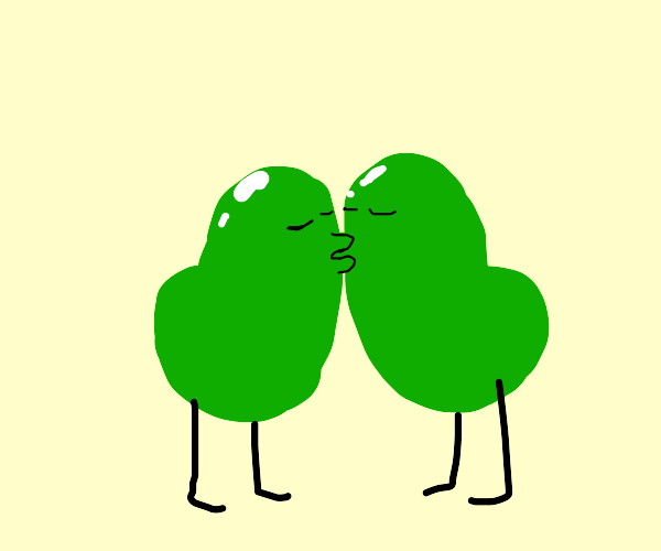 two green beans kissing