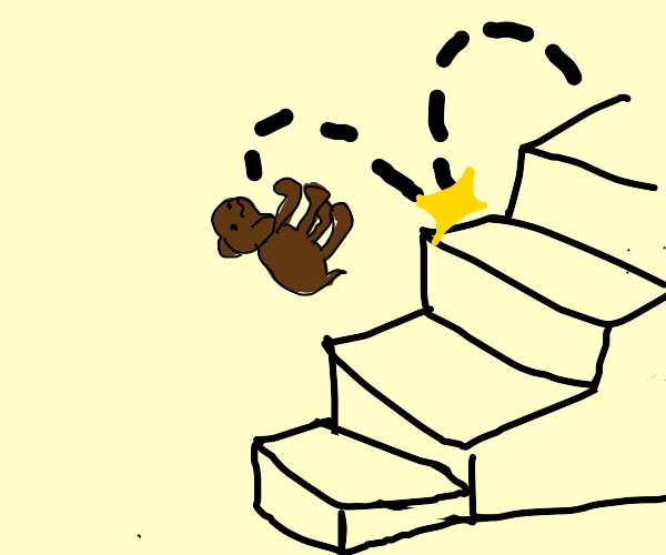 Dog falling down staircase.