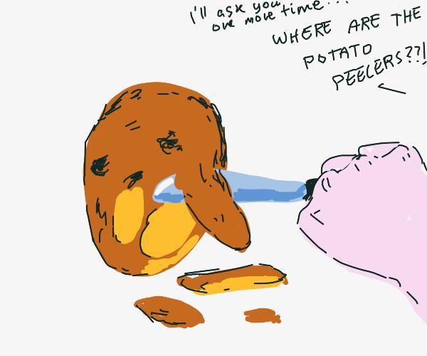 potato being tortured