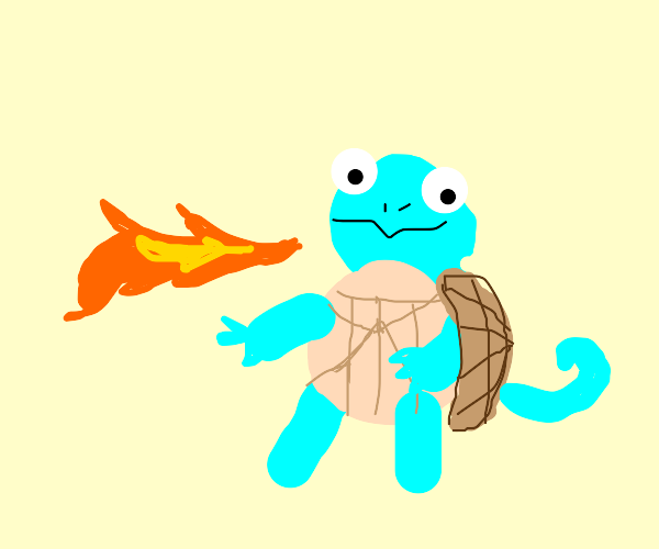 squirtle but he spits fire